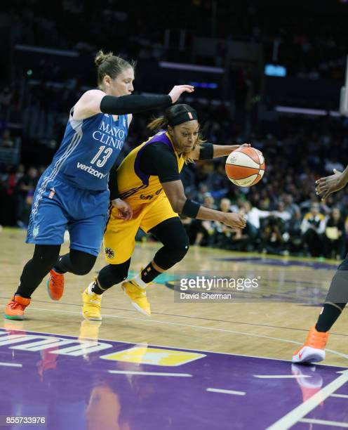 Odyssey Sims of the Los Angeles Sparks handles the ball against the Minnesota Lynx in Game Three of the 2017 WNBA Finals on September 29 2017 at the...