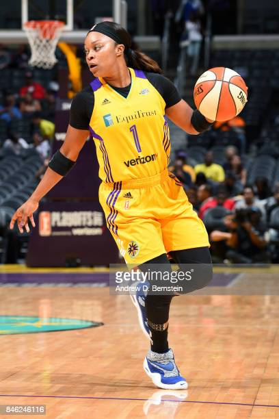 Odyssey Sims of the Los Angeles Sparks handles the ball during the game against the Phoenix Mercury in Game One of the Semifinals during the 2017...