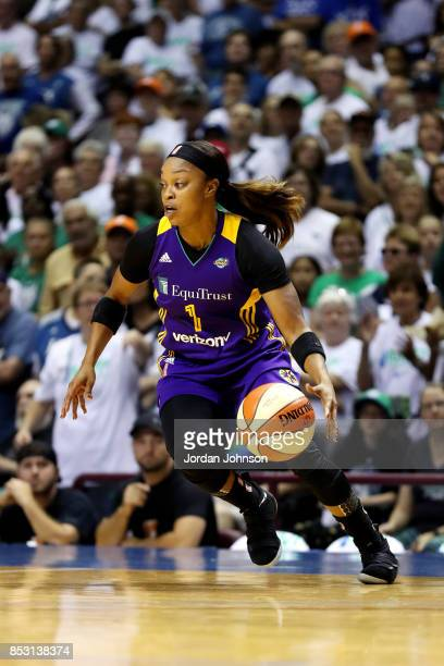 Odyssey Sims of the Los Angeles Sparks handles the ball during the game against the Minnesota Lynx in Game One of the 2017 WNBA Finals on September...