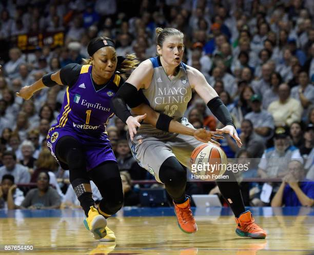Odyssey Sims of the Los Angeles Sparks knocks the ball away from Lindsay Whalen of the Minnesota Lynx during the first quarter of Game Five of the...