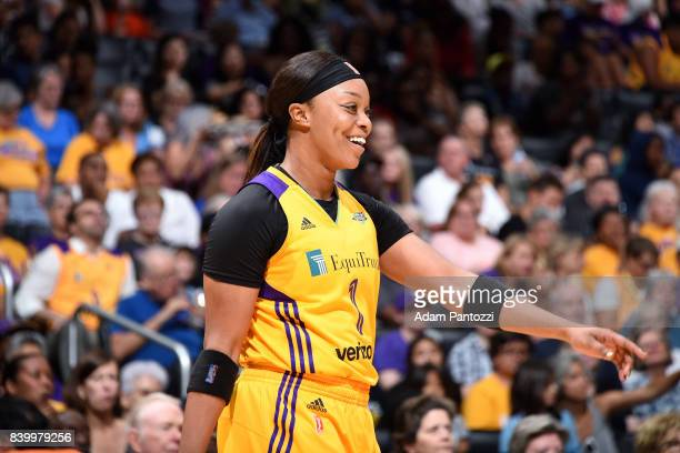 Odyssey Sims of the Los Angeles Sparks looks on during the game against the Minnesota Lynx during a WNBA game on August 27 2017 at STAPLES Center in...