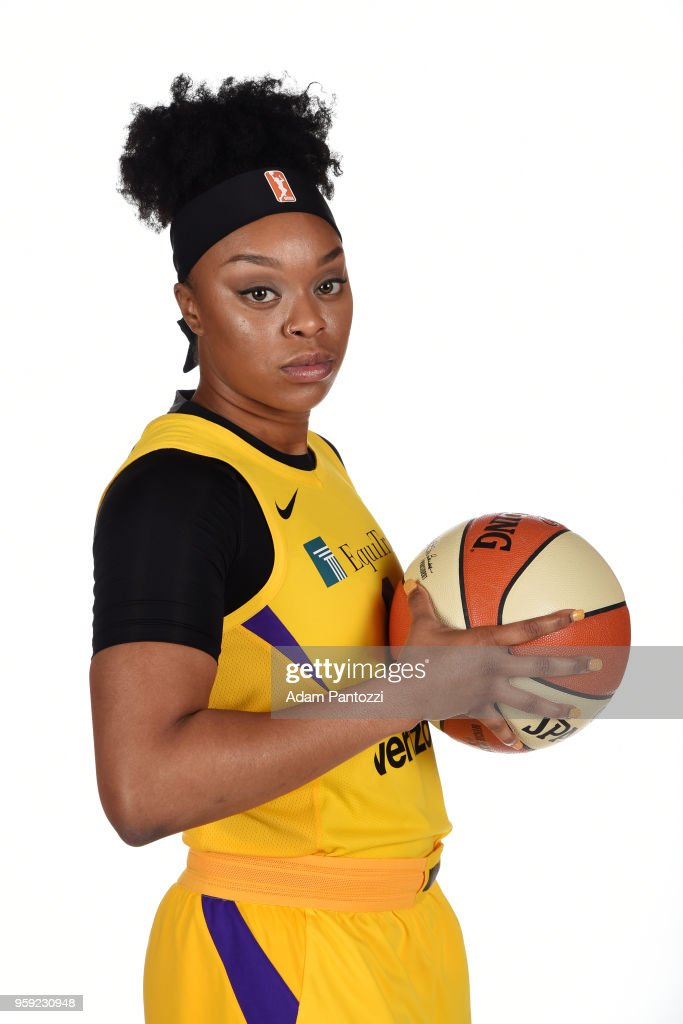 Odyssey Sims #1 of the Los Angeles Sparks poses for a portrait at the 2018 Media Day at Los Angeles Athletic Club on May 15, 2018 in Los Angeles, California.