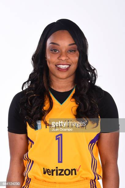 Odyssey Sims of the Los Angeles Sparks poses for a portrait during Media Day at the Los Angeles Athletic Club on May 16 2017 in Los Angeles...