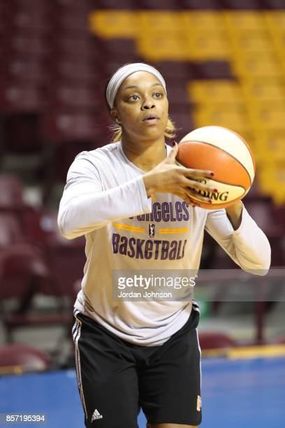 Odyssey Sims of the Los Angeles Sparks shoots the ball during practice at Williams Arena during the WNBA Finals on October 3 2017 in Minneapolis...