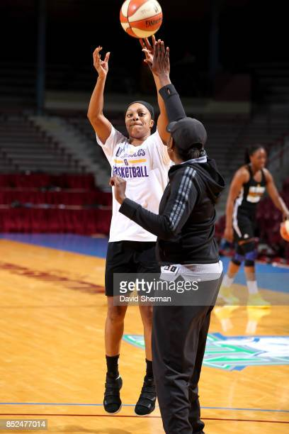 Odyssey Sims of the Los Angeles Sparks shoots the ball during the 2017 WNBA Finals Practice and Media Availability on September 23 2017 at University...