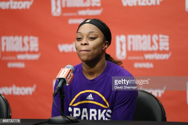 Odyssey Sims of the Los Angeles Sparks speaks to the media during a press conference after defeating the Minnesota Lynx in Game Three of the 2017...