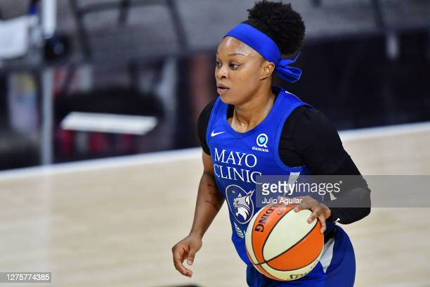 Odyssey Sims of the Minnesota Lynx dribbles during the second half of Game One of their Third Round playoff against the Seattle Storm at Feld...