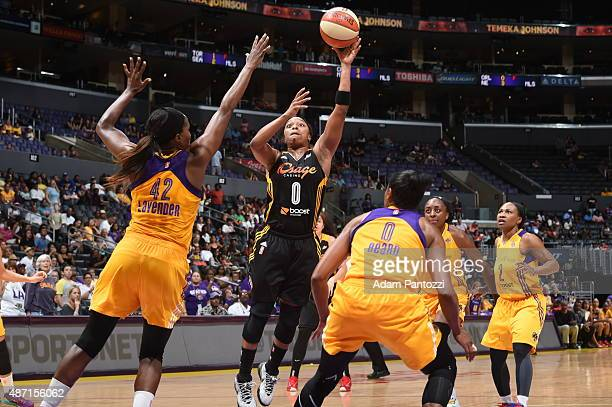 Odyssey Sims of the Tulsa Shock shoots the ball against the Los Angeles Sparks on September 6 2015 in Los Angeles California NOTE TO USER User...