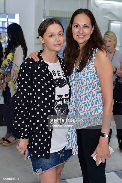 Oelga Knight and Grace Mazzilli attend Barneys New York Fetes Shoe Designer Gianvito Rossi at Barneys New York Beverly Hills on August 27 2015 in...