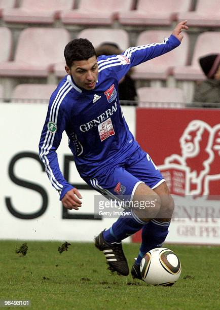 Oemer Kanca of Unterhaching during the 3Liga match between SpVgg Unterhaching and Bayern Muenchen II at the Generali Sportpark on January 24 2010 in...