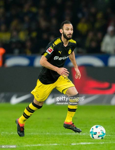Oemer Toprak of Borussia Dortmund in action during the Bundesliga match between Hertha BSC and Borussia Dortmund at the Olympiastadion on January 19...