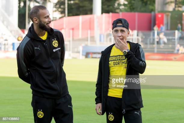 Oemer Toprak of Dortmund and Emre Mor of Dortmund looks on during a friendly match between Espanyol Barcelona and Borussia Dortmund as part of the...