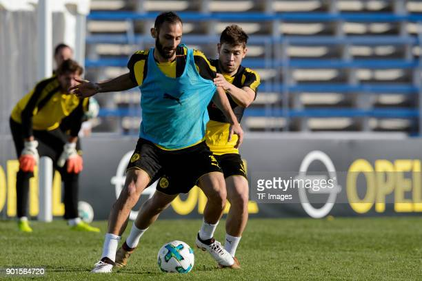 Oemer Toprak of Dortmund and Raphael Guerreiro of Dortmund battle for the ball during the Borussia Dortmund training camp at Marbella Football Center...