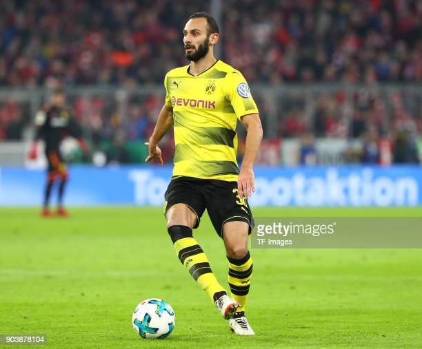 Oemer Toprak of Dortmund controls the ball during the DFB Cup match between Bayern Muenchen and Borussia Dortmund at Allianz Arena on December 20...