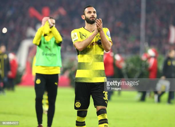 Oemer Toprak of Dortmund gestures after the DFB Cup match between Bayern Muenchen and Borussia Dortmund at Allianz Arena on December 20 2017 in...