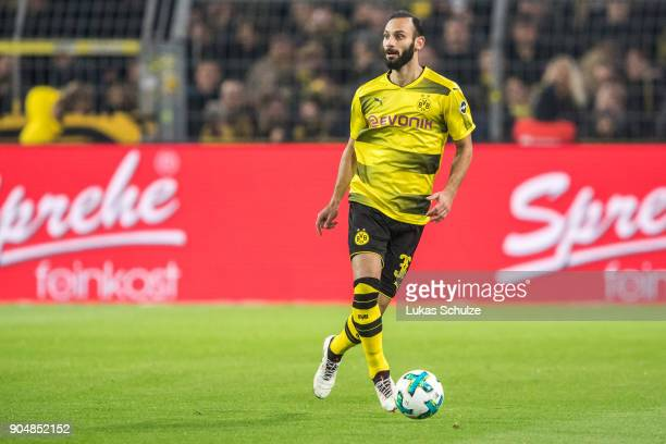 Oemer Toprak of Dortmund in action during the Bundesliga match between Borussia Dortmund and VfL Wolfsburg at Signal Iduna Park on January 14 2018 in...