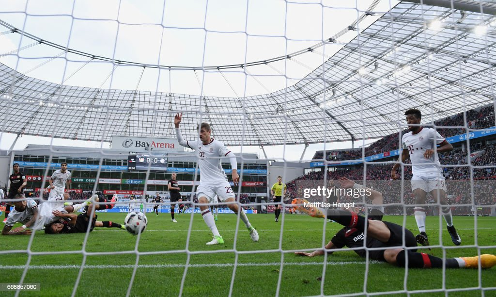 Oemer Toprak of Leverkusen saves the ball on the goal-line during the Bundesliga match between Bayer 04 Leverkusen and Bayern Muenchen at BayArena on April 15, 2017 in Leverkusen, Germany.