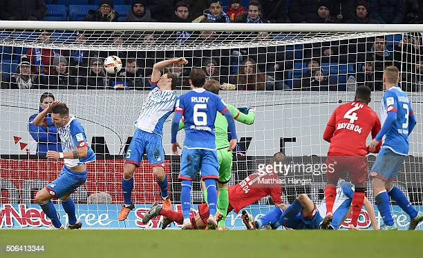 Oemer Toprak of Leverkusen scores his team's first goal during the Bundesliga match between 1899 Hoffenheim and Bayer Leverkusen at Wirsol...