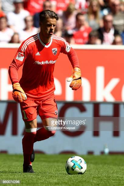 Oerjan Nyland of Ingolstadt runs with the ball during the Second Bundesliga match between Fortuna Duesseldorf and FC Ingolstadt 04 at EspritArena on...