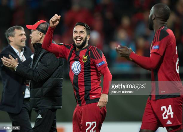 Oestersund's Brwa Nouri celebrates the 10 victory with Ronald Mukiibi after the Europa League match between Ostersunds FK and Hertha BSC at the...