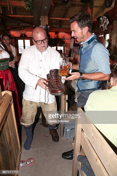 Oetzi Gerry Friedle and Florian Silbereisen during the opening of the oktoberfest 2016 at the 'Kaeferschaenke' beer tent at Theresienwiese on...