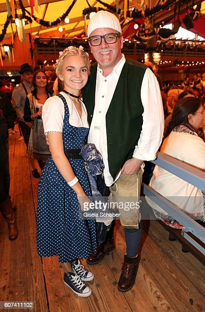 Oetzi Gerry Friedle and his daughter LisaMarie Friedle during the opening of the oktoberfest 2016 at the Schottenhamel beer tent at Theresienwiese on...