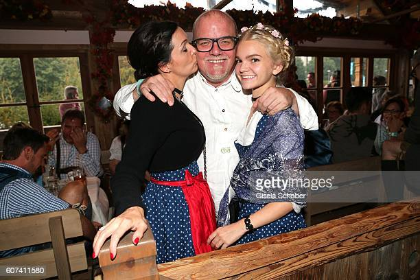 Oetzi Gerry Friedle and his wife Sonja Friedle and his daughter LisaMarie Friedle during the opening of the oktoberfest 2016 at the 'Kaeferschaenke'...