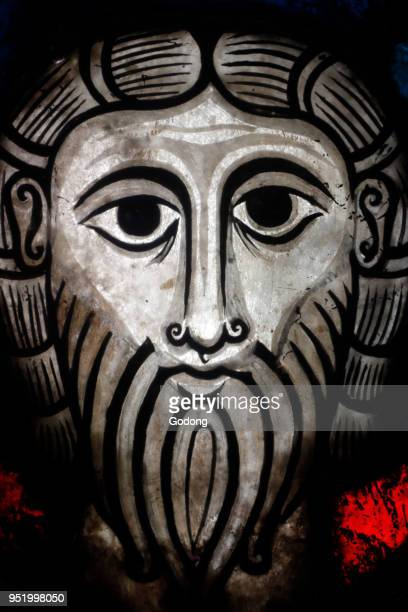 Oeuvre NotreDame Museum Romanesque stained glass window Head of Christ from Wissembourg Strasbourg France