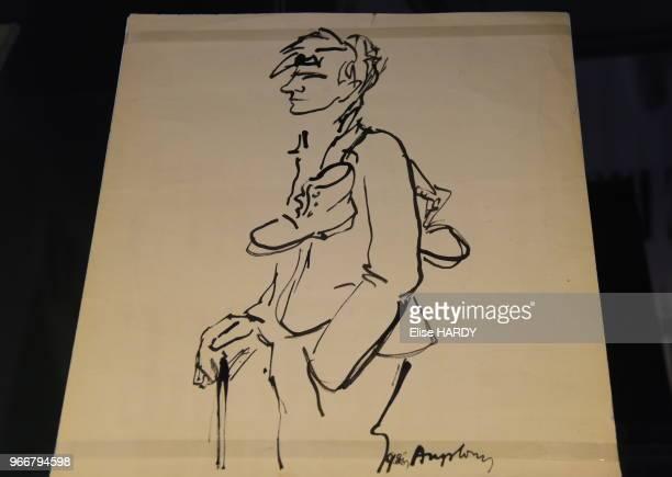 Oeuvre représentant le poète Arthur Rimbaud dans le Musée Rimbaud 22 septembre 2015 CharlevilleMézières Ardennes France