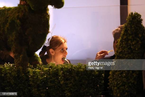 Of £150 for any usage online or in print** Princess Beatrice and husband Edoardo Mapelli Mozzi seen at George Restaurant in Mayfair on April 23, 2021...
