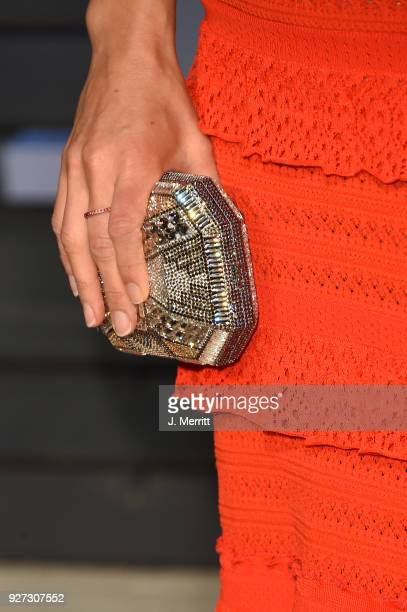 CEO of 23andMe Anne Wojcicki purse detail attends the 2018 Vanity Fair Oscar Party hosted by Radhika Jones at the Wallis Annenberg Center for the...