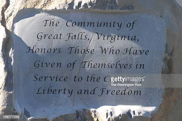 Of 6 fx/memorial, 11/13/04,Larry Morris TWP, #161822 : Inscription on the main stone at the dedication of the great Falls Freedom Memorial.