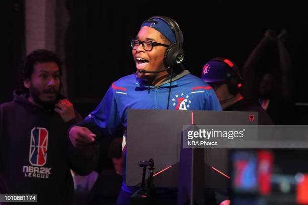ZDS of 76ers Gaming Club reacts during the game against Pistons Gaming Team on August 4 2018 at the NBA 2K Studio in Long Island City New York NOTE...