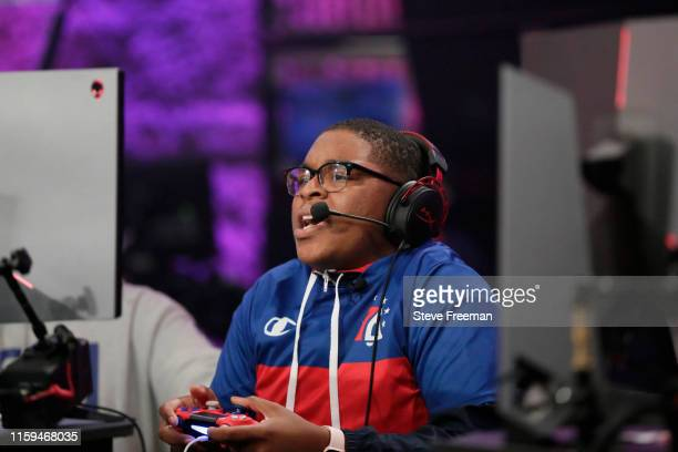 ZDS of 76ers Gaming Club reacts to a play against TWolves during Game Four of the NBA 2K League Finals on August 3 2019 at the NBA 2K Studio in Long...