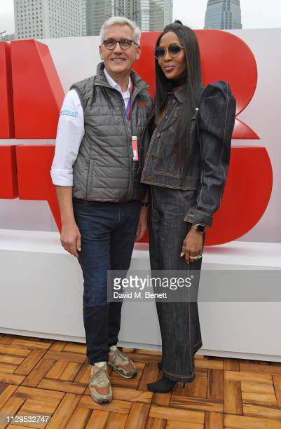 CEO of ABB Ltd Dr Ulrich Spiesshofer and Naomi Campbell attend the ABB FIA Formula E HKT Hong Kong EPrix on March 10 2019 in Hong Kong