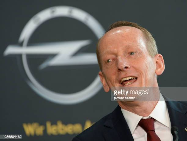 CEO of Adam Opel AG KarlThomas Neumann gives a press statement at AdamOpelHaus in Ruesselsheim Germany 10 April 2013 The board of directors of GM...