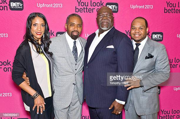 SVP of advertising sales Kim Leww Persident of advertising sales Louis Carr Bishop TD Jakes and Jamar Jakes attend the BET Networks 2013 Upfronts at...