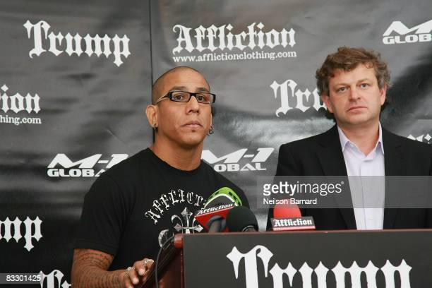 VP of Affliction Entertainment Tom Atencio and President of M1 Global Vadim Finkelchtein attend the announcement of the new MMA reality series...