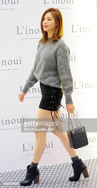 NANA of After School poses for photographs during the celebration of 2nd annivarsary of store of Linoui at Lotte Department Store on September 12...