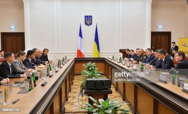 CEO of Airbus Helicopters Bruno Even speaks to Prime Minister of Ukraine Volodymyr Groysman and Ukrainian Minister of Internal Affairs Arsen Avakov...