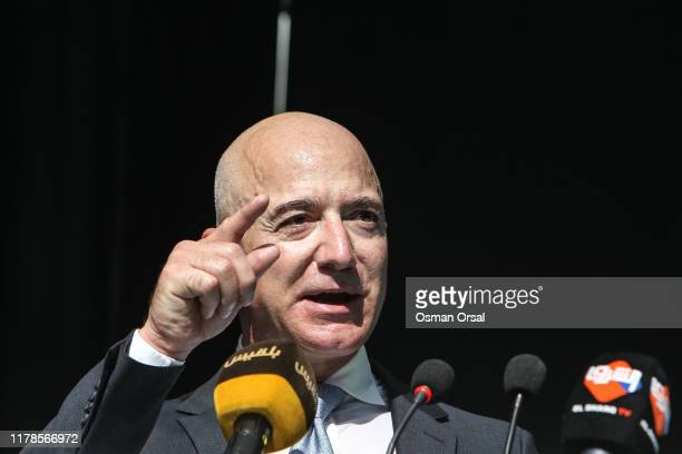 CEO of Amazon and Washington Post owner Jeff Bezos speaks during an event marking the oneyear anniversary of the assassination of Saudi dissident...
