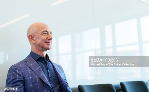 CEO of Amazon Jeff Bezos is photographed for Forbes Magazine on July 31 2018 at his Seattle headquarters in Seattle Washington PUBLISHED IMAGE CREDIT...