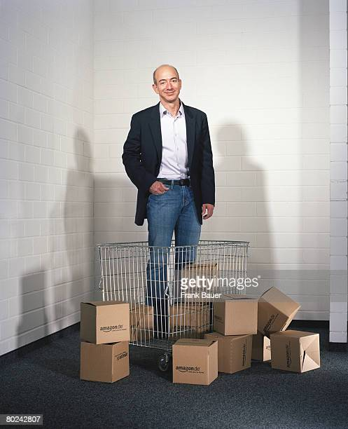CEO of Amazon Jeff Bezos poses for a portrait shoot in Munich for Vanity Fair magazine on October 2 2007