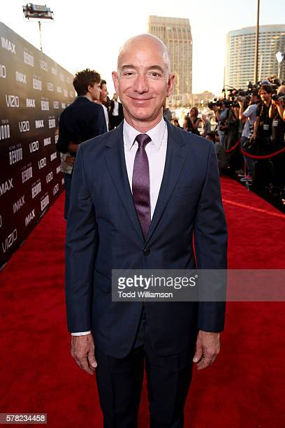 CEO of Amazoncom Jeff Bezos attends the premiere of Paramount Pictures' 'Star Trek Beyond' at Embarcadero Marina Park South on July 20 2016 in San...