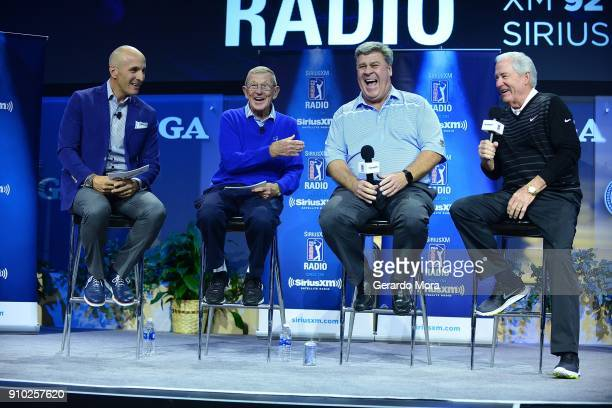 Of America CEO Pete Bevacqua, Lou Holtz, Hal Sutton and Dave Stockton on the SiriusXM Town Hall at the PGA Merchandise Show on January 25, 2018 in...
