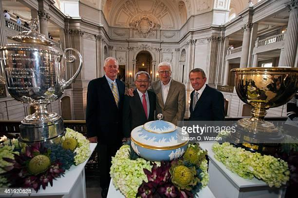 Of America President Ted Bishop, San Francisco mayor Ed Lee, Frank âSandy❠Tatum, and PGA Tour Commissioner Tim Finchem stand next to tournament...