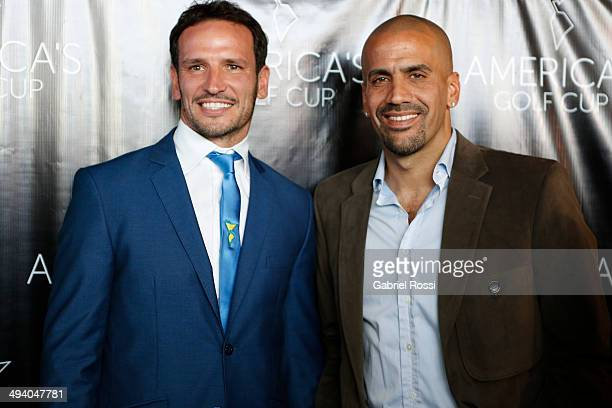 CEO of America's Golf Cup Lisandro Borges and former football player Juan Sebastian Veron pose for a photo after a press conference to present the...