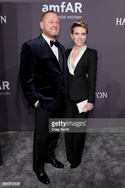 Of Amfar Kevin Robert Frost and Actress Scarlett Johansson attend the amfAR New York Gala 2017 sponsored by FIJI Water at Cipriani Wall Street on...