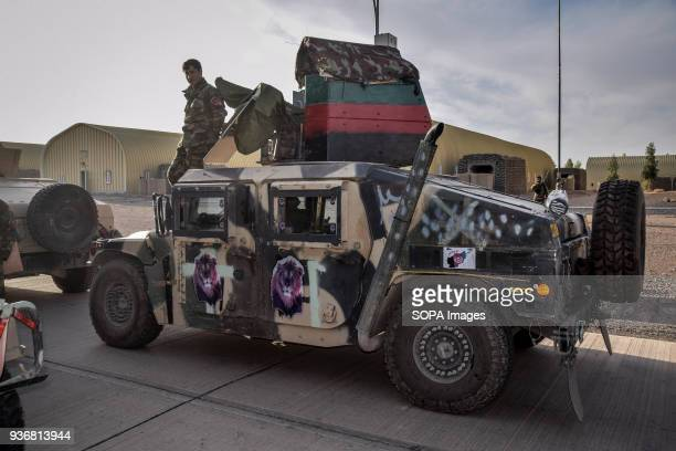 Of an Afghan Commando Company with lion stickers on the side, Afghan National Army brigade base near Farah City, Farah province. Afghanistans elite...