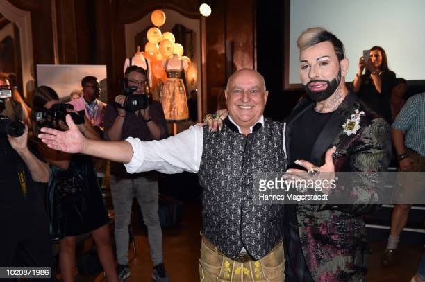 CEO of Angermaier Axel Munz and designer Harald Gloeoeckler during 'POMPOEOES By Angermaier Collection Presentation' at Deutsches Theatre on August...